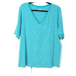 Lane Bryant 100% cotton blue/white striped t-shirt